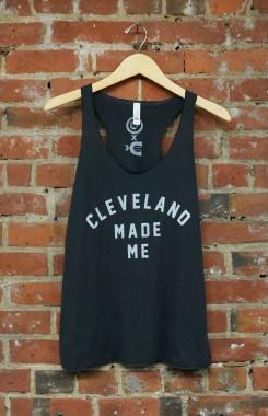'Cleveland Made Me' on Solid Dark Grey TriBlend Racerback Tank