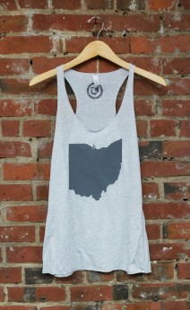 'Ohio State' on Athletic Grey Racerback Tank
