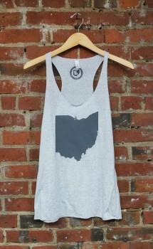 'Ohio State' on Athletic Grey Racerback Tank