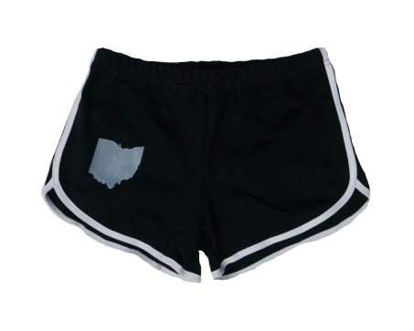 'Ohio State' on Black and White Ladies Track Shorts