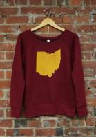 'Ohio State' on Cardinal Red Wide Neck Ladies Sweatshirt
