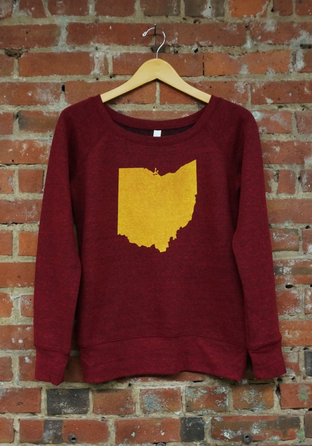 'Ohio State' on Cardinal Red Wide Neck Ladies Sweatshirt