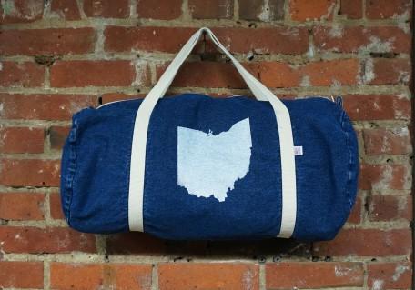 'Ohio State' on Denim Duffle Bag