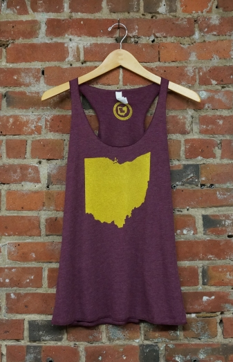 'Ohio State' on Maroon TriBlend Racerback Tank