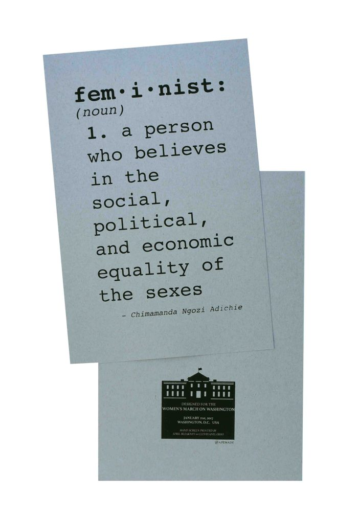 feminist-womens-march-poster-on-kraft-tone-packing-chip-kraft-12-5x19-front-and-back