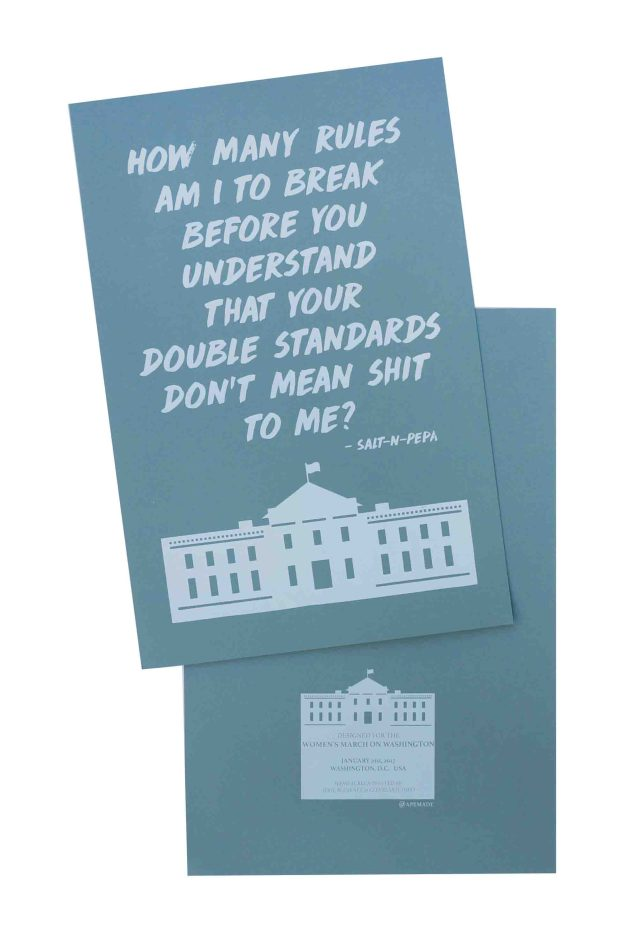 how-many-rules-am-i-to-break-womens-march-poster-on-construction-steel-blue-12-5x19-front-and-back