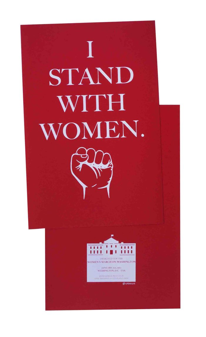 i-stand-with-women-womens-march-poster-on-construction-electric-red-12-5x19-front-and-back