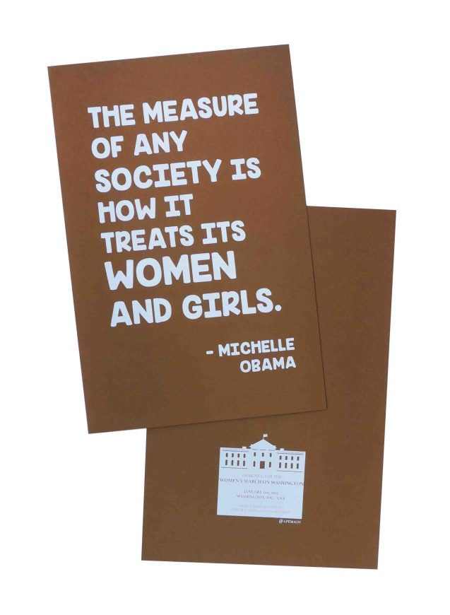 the-measure-of-any-society-womens-march-poster-on-speckltone-brown-12-5x19-front-and-back