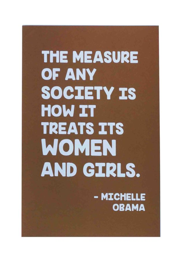 the-measure-of-any-society-womens-march-poster-on-speckltone-brown-12-5x19