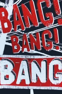 'Bang, Bang, Bang!', 12.5''x19'', Screenprint on Blacktop Paper.