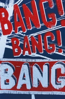'Bang, Bang, Bang!', 12.5''x19'', Screenprint on Nightshift Blue Paper