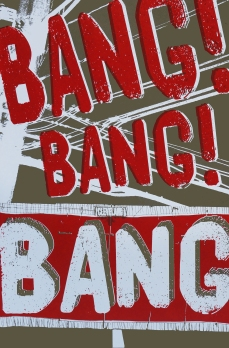 'Bang, Bang, Bang!', 12.5''x19'', Screenprint on Olive Speckletone Paper