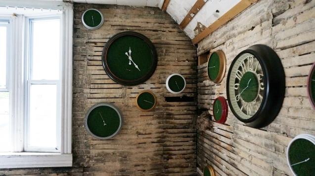 'Sixth Extinction (11.57)' (10), Installation (Clocks, Artificial Grass, Spraypaint, Audio), 2017