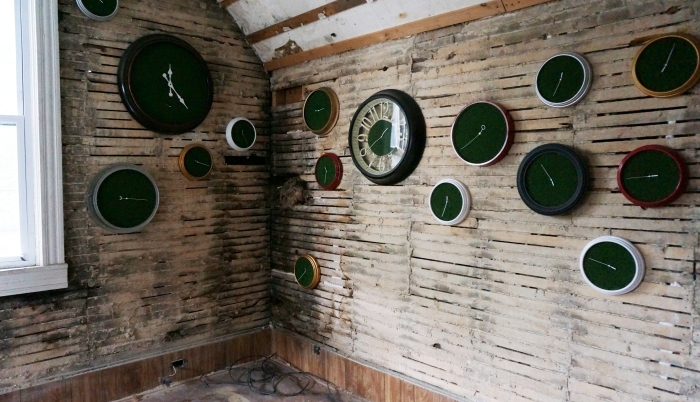 'Sixth Extinction (11.57)' (12), Installation (Clocks, Artificial Grass, Spraypaint, Audio), 2017