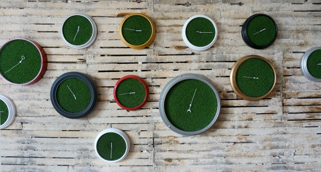 'Sixth Extinction (11.57)' (16), Installation (Clocks, Artificial Grass, Spraypaint, Audio), 2017