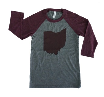 'Ohio' Gray:Maroon Unisex Baseball Tee
