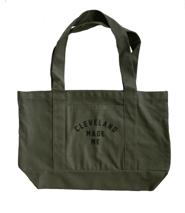 'Cleveland Made Me' Olive Green Boat Tote