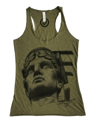 'Guardian' on Olive Green Racerback