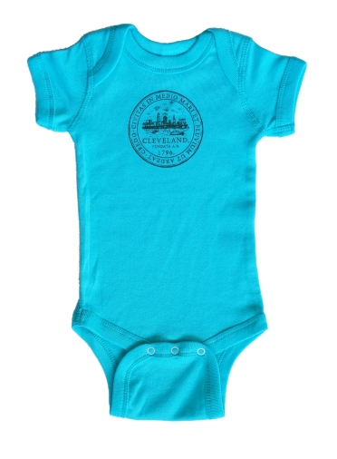 'City Seal' on Caribbean Blue Baby Onesie