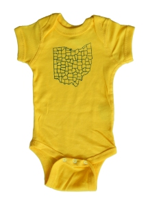 'Counties' Yellow Baby Onesie