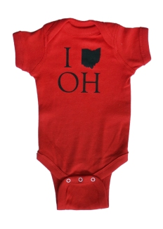 'I (Ohio) OH' Red Baby Onesie