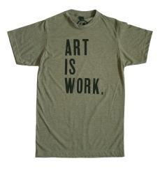 'Art Is Work' Heather Military Green Unisex Tee