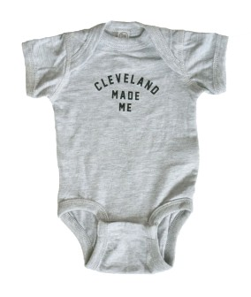 Cleveland Made Me Heather Gray Baby Onesie