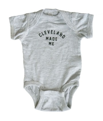 Cleveland Made Me Heather Gray Baby Onesie