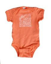 Downtown Map Papaya Baby Onesie